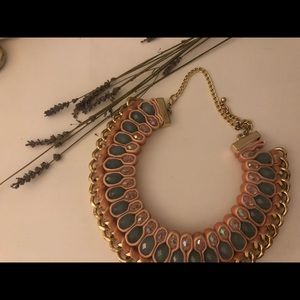 Beautiful pink and light blue statement necklace